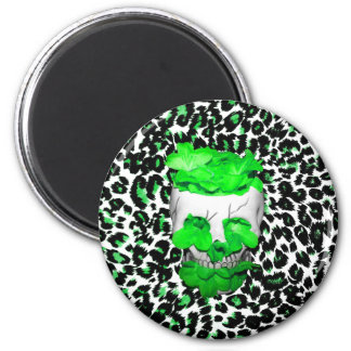 Skull and Green Flowers on Leopard Spots Magnets