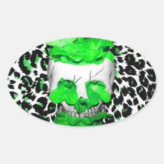 Skull and Green Flowers on Leopard Spots Oval Sticker