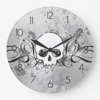 Skull And Grungy Swirls Wallclocks