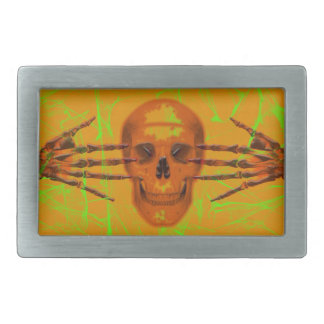 Skull and hands on orange and green belt buckle