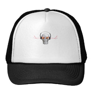 skull and headphones with lightning from ears mesh hat