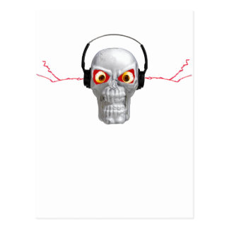 skull and headphones with lightning from ears post card