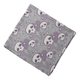 Skull and Hearts Pattern Bandana