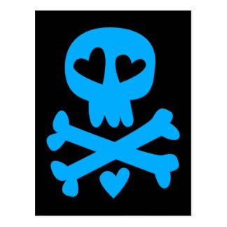 Skull and hearts postcard