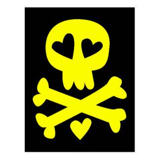 Skull and hearts post card