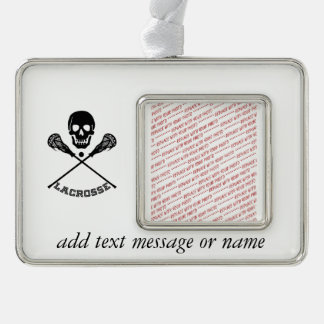 Skull and Lacrosse Sticks Silver Plated Framed Ornament