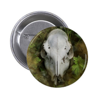 Skull and Leaves 6 Cm Round Badge