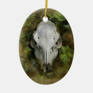 Skull and Leaves Ceramic Oval Decoration