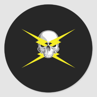 Skull and Lightning Bolts Classic Round Sticker