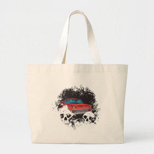 Skull and Muscle Car Tote Bags