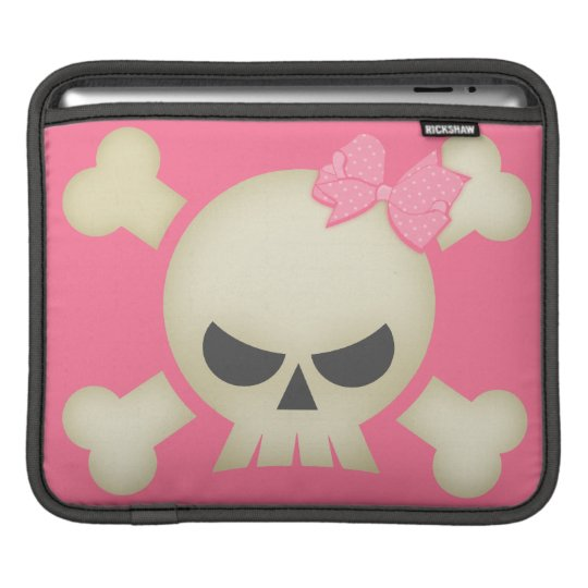 Skull and Pink Bow iPad Sleeve
