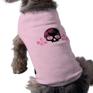 Skull and Pink Flower Pattern Sleeveless Dog Shirt