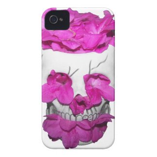 Skull and Pink Flowers iPhone 4 Case-Mate Case