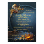 Skull and Pumpkin Halloween Birthday Party 13 Cm X 18 Cm Invitation Card