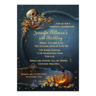 Skull and Pumpkin Halloween Birthday Party 13 Cm X 18 Cm Invitation Card