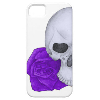 Skull and Purple Roses Barely There iPhone 5 Case