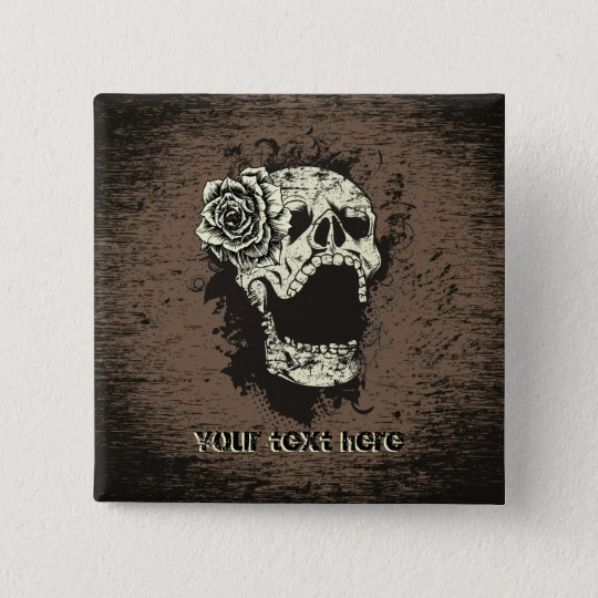 Skull and rose custom button