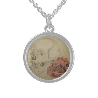 Skull and Rose Sterling Silver Necklace