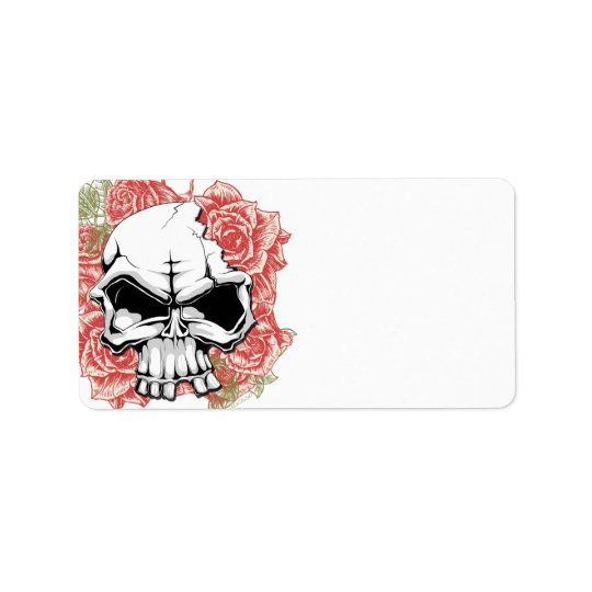 Skull and Roses Address Label