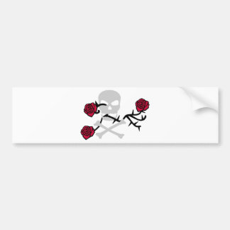 Skull and Roses Bumper Sticker