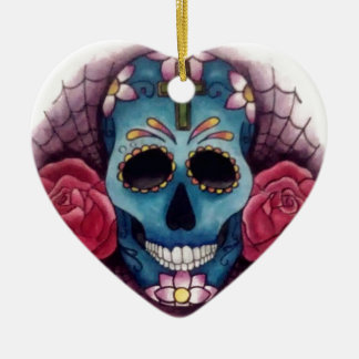skull and roses christmas ornament