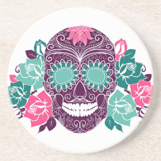 Skull And Roses, Colorful Day Of The Dead Card 3 Drink Coaster