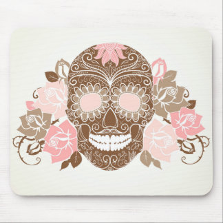 Skull And Roses, Colorful Day Of The Dead Card Mouse Mat