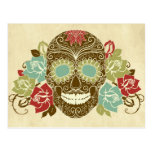 Skull And Roses, Colourful Day Of The Dead Card 2 Postcard