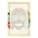 Skull And Roses, Colourful Day Of The Dead Card 2 Personalized Stationery