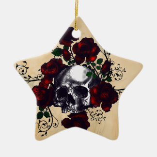 Skull and Roses Tattoo Style Goth Art Christmas Ornament