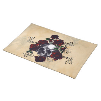 Skull and Roses Tattoo Style Goth Art Placemat