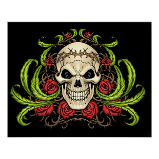 Skull and Roses with Crown Of Thorns by Al Rio