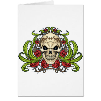 Skull and Roses with Crown Of Thorns by Al Rio Card