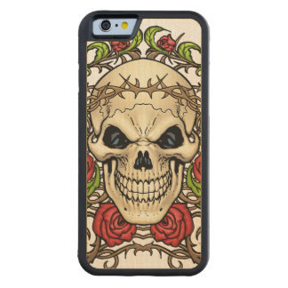 Skull and Roses with Crown Of Thorns by Al Rio Carved Maple iPhone 6 Bumper Case