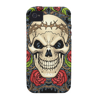 Skull and Roses with Crown Of Thorns by Al Rio iPhone 4/4S Cases