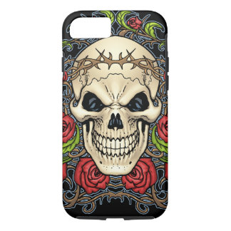 Skull and Roses with Crown Of Thorns by Al Rio iPhone 7 Case