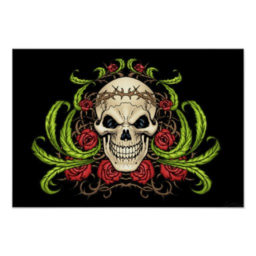 Skull and Roses with Crown Of Thorns by Al Rio Print
