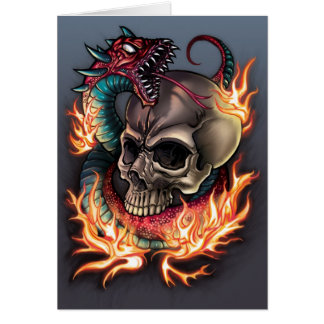 Skull and Snake Tattoo Card