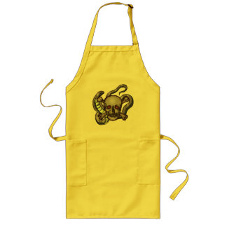Skull and Snakes T-shirts and Gifts Long Apron