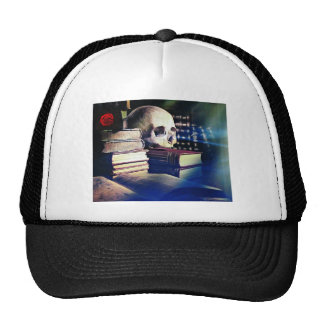 Skull and spell book on gifts, clothing, and cards trucker hat