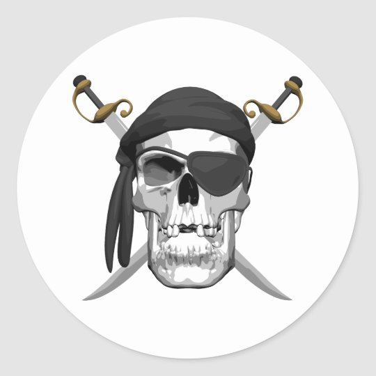 Skull and Swords Classic Round Sticker
