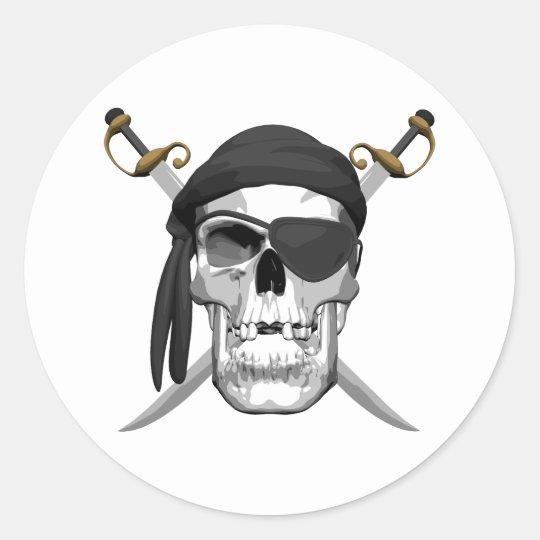 Skull and Swords Round Sticker