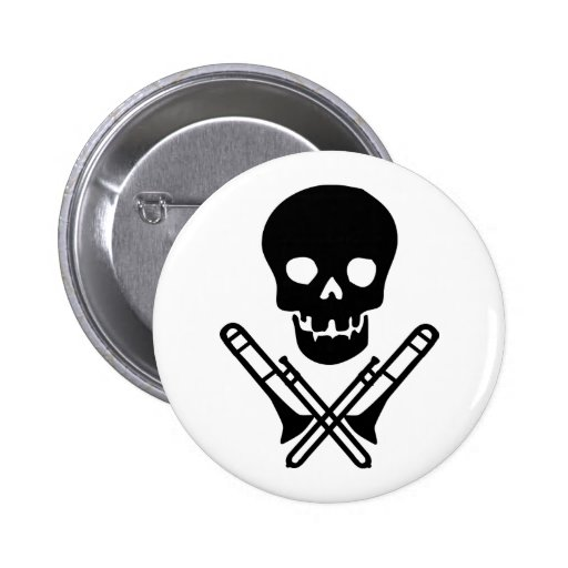 skull and trombones pinback button