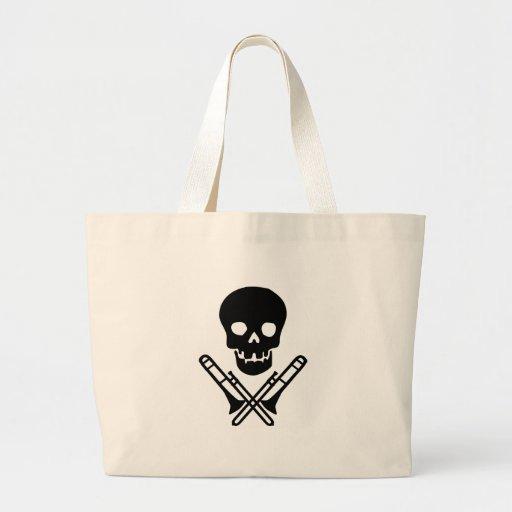 skull and trombones canvas bag