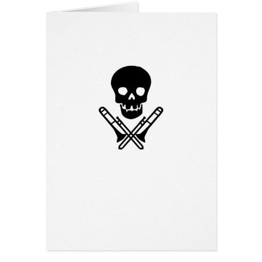skull and trombones greeting card
