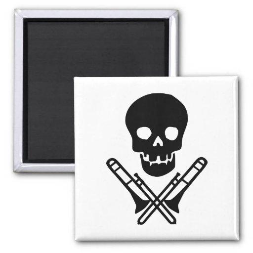 skull and trombones refrigerator magnets
