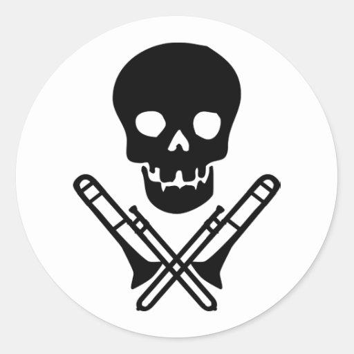 skull and trombones round sticker