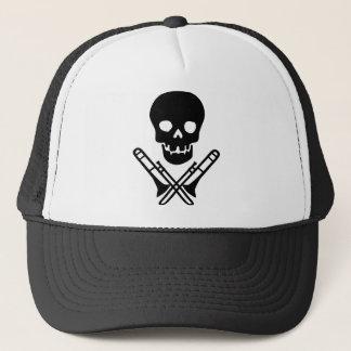 skull and trombones trucker hat
