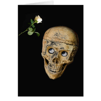 Skull and White Rose Happy Halloween Card
