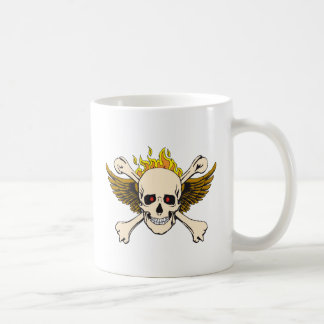 Skull and Wings with Crossbones and Fire Basic White Mug